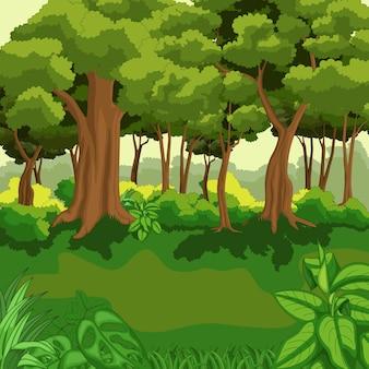 Hermosa selva verde con plantas.