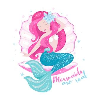 Hermosa sirena con concha