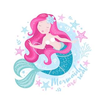 Hermosa sirena con perlas.