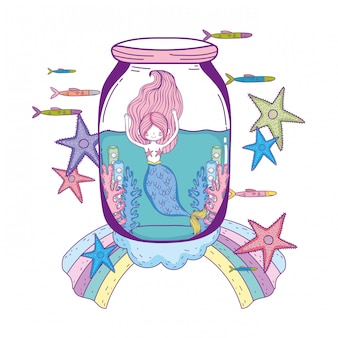 Hermosa sirena en personaje de cuento de hadas albañil