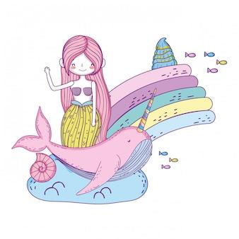 Hermosa sirena con personaje de cuento de hadas narval