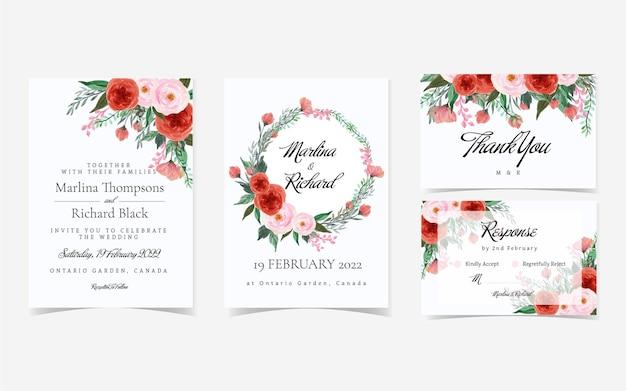 Hermosa suite de invitación de boda floral en rojo y rosa vintage