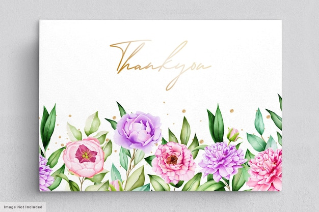 Hermosa tarjeta de agradecimiento con flores acuarelas