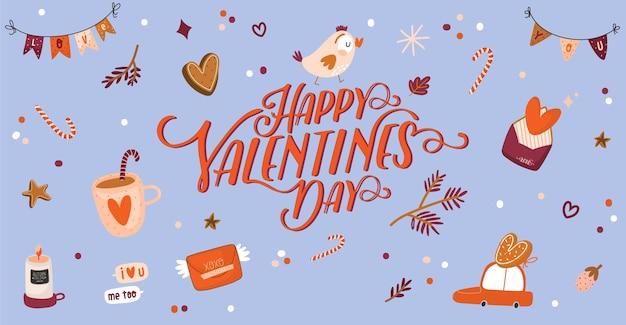 Hermosa tarjeta de amor con elementos del día de san valentín. taza de símbolos románticos y lindos, dulces, carta, pájaro, corazones, cinta, regalos.