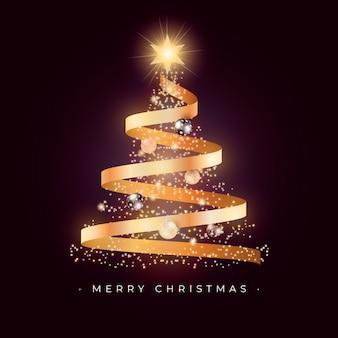 Hermosa tarjeta de árbol de navidad con cinta dorada