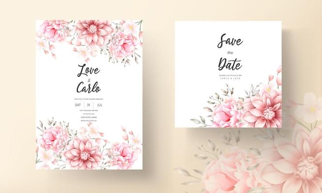 Hermosa tarjeta de boda de acuarela floral melocotón suave y marrón