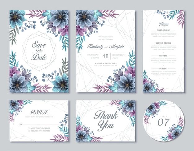 Hermosa tarjeta de boda conjunto de plantillas de flores florales de acuarela azul y púrpura