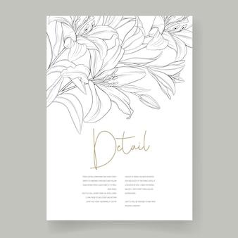 Hermosa tarjeta de boda dibujada a mano flores de lirio