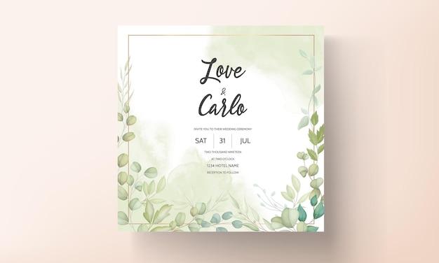 Hermosa tarjeta de boda con diseño de hojas decorativas.