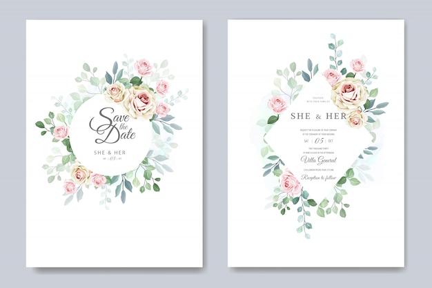 Hermosa tarjeta de boda en elegante plantilla de rosas