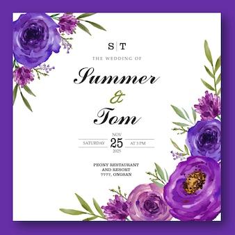Hermosa tarjeta de boda de flor de acuarela púrpura