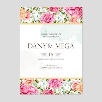 Hermosa tarjeta de boda floral acuarela