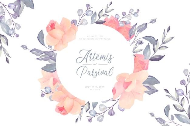 Hermosa tarjeta de boda floral