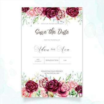 Hermosa tarjeta de boda con fondo de acuarela