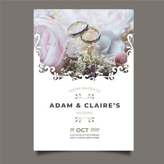Hermosa tarjeta de boda con foto