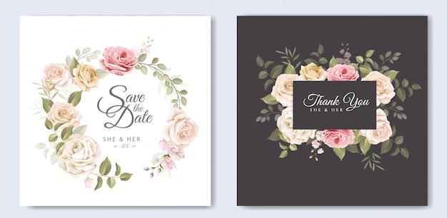 Hermosa tarjeta de boda con plantilla floral y hojas