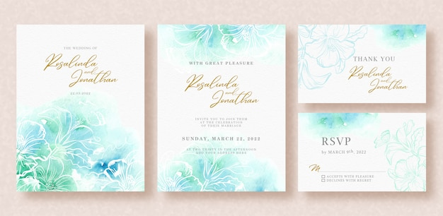Hermosa tarjeta de boda con salpicaduras de acuarela