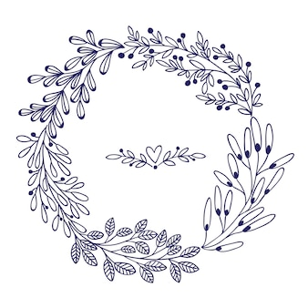 Hermosa tarjeta con corona floral