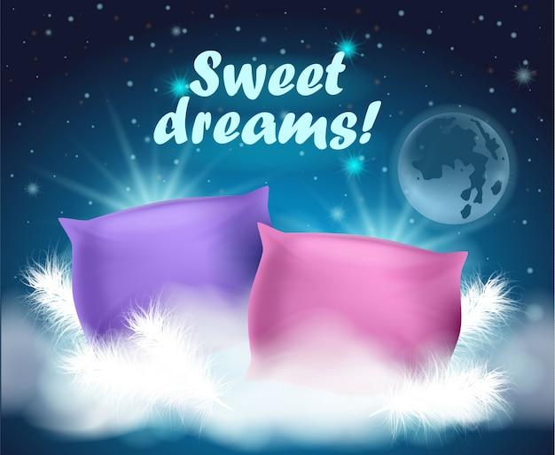 Hermosa tarjeta con deseo escrito dulces sueños
