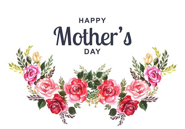 Hermosa tarjeta del día de la madre feliz con fondo floral