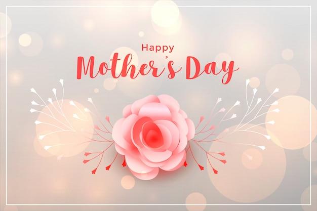 Hermosa tarjeta del día de las madres feliz rosa