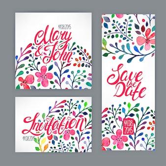 Hermosa tarjeta con estampado de flores acuarela. ilustración dibujada a mano