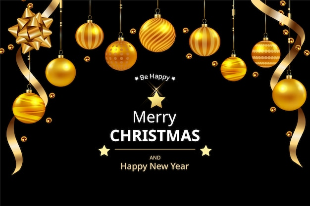 Hermosa tarjeta de felicitación de feliz navidad y feliz año nuevo, bolas de oro colgando