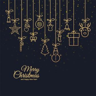 Hermosa tarjeta de felicitación de feliz navidad con fondo de celebración
