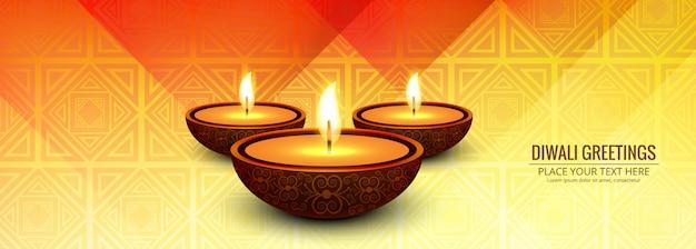 Hermosa tarjeta de felicitación del festival con pancarta de diwali