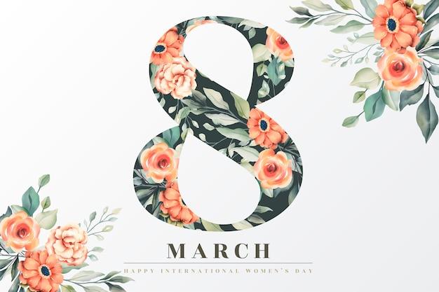 Hermosa tarjeta de felicitación floral del día de la mujer