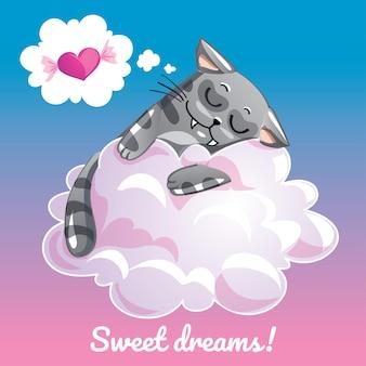 Una hermosa tarjeta de felicitación con un gato dibujado a mano durmiendo en la nube y un mensaje de texto de ejemplo dulces sueños, ilustración