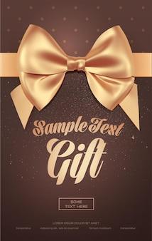 Hermosa tarjeta de felicitación con lazo dorado