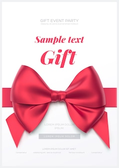 Hermosa tarjeta de felicitación con lazo rojo