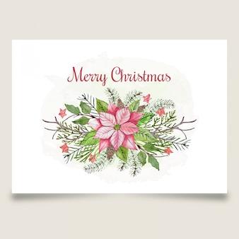 Hermosa tarjeta de felicitación de navidad con flor rosa y estrella