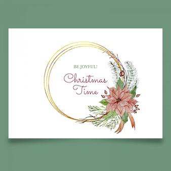 Hermosa tarjeta de felicitación de navidad con flor rosa