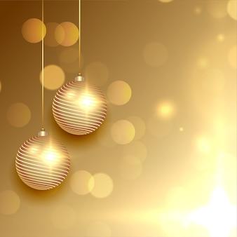 Hermosa tarjeta de felicitación navideña dorada con bolas