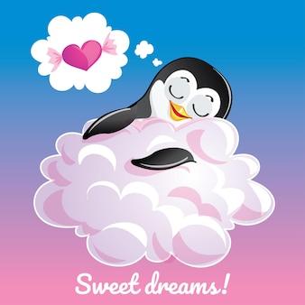 Una hermosa tarjeta de felicitación con un pingüino dibujado a mano durmiendo en la nube y un ejemplo de mensaje de texto dulces sueños