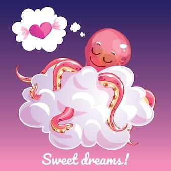 Una hermosa tarjeta de felicitación con un pulpo dibujado a mano durmiendo en la nube y un ejemplo de mensaje de texto dulces sueños