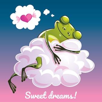 Una hermosa tarjeta de felicitación con una rana dibujada a mano durmiendo en la nube y un ejemplo de mensaje de texto dulces sueños