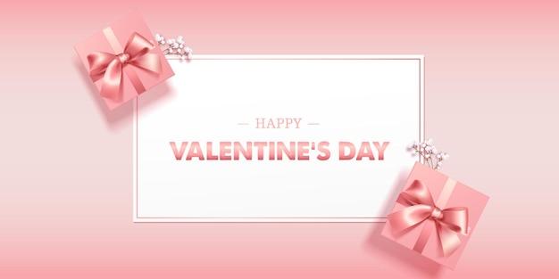 Hermosa tarjeta de felicitación rosa pastel o pancarta con caja de regalo rosa feliz día de san valentín vector