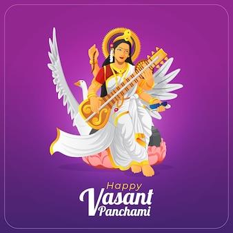Hermosa tarjeta de felicitación de vasant panchami