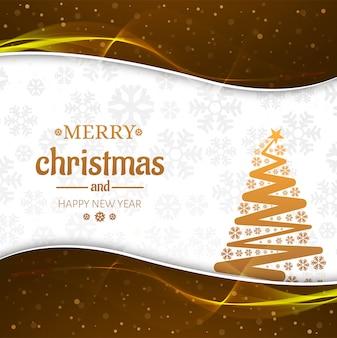 Hermosa tarjeta de feliz navidad con el fondo del árbol