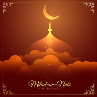 Hermosa tarjeta del festival eid milad un nabi barawafat