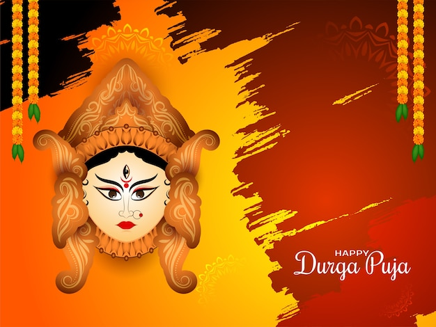 Hermosa tarjeta del festival indio durga puja