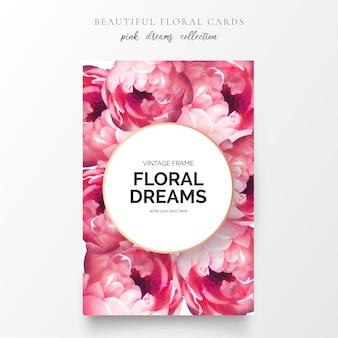 Hermosa tarjeta floral con flores de peonía