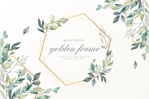 Hermosa tarjeta floral con marco dorado