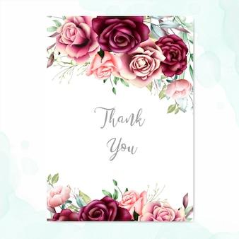 Hermosa tarjeta floral con mensaje de agradecimiento