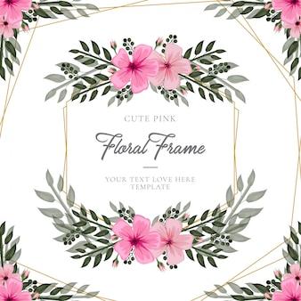 Hermosa tarjeta floral rosa con marco dorado