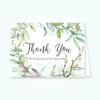 Hermosa tarjeta de hojas con mensaje de agradecimiento.