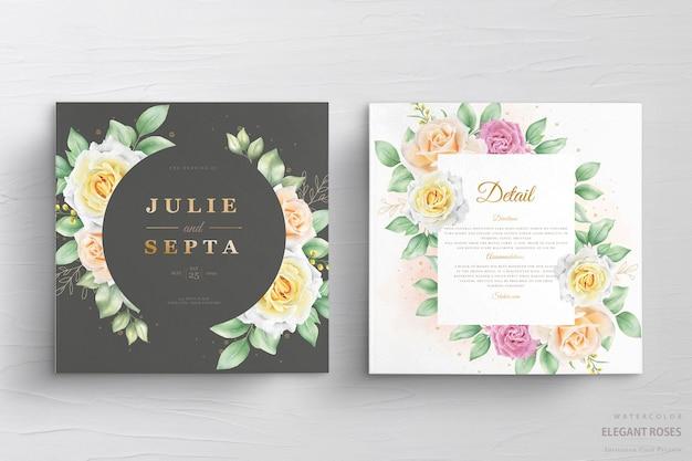 Hermosa tarjeta de invitación de boda en acuarela